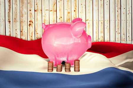 pale wood: Coins and piggy bank against wooden background in pale wood