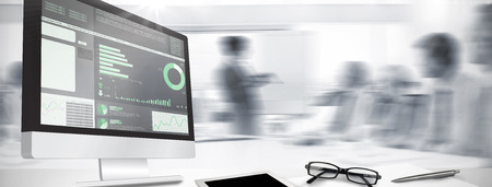 Computer screen against business interface