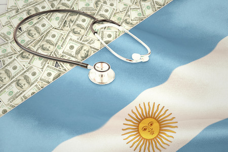 argentinian flag: stethoscope against argentinian flag Stock Photo