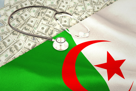 digitally generated: stethoscope against digitally generated algerian national flag