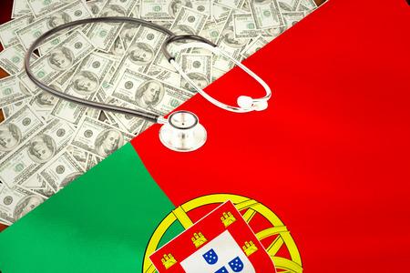 portugese: stethoscope against digitally generated portugese national flag Stock Photo
