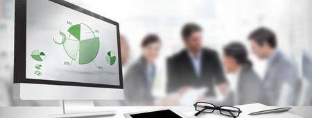 Tela de computador contra percentuais de representação gráfica