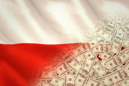 bandera de polonia: Pila de d�lares contra generada digitalmente ondulante bandera polaca