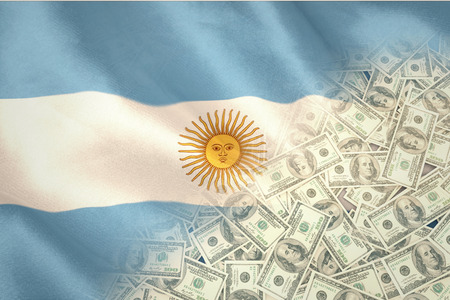 argentinian flag: Pile of dollars against argentinian flag Stock Photo