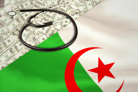 algerian flag: stethoscope against algerian flag