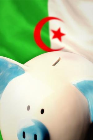 algerian flag: Piggy bank against algerian flag