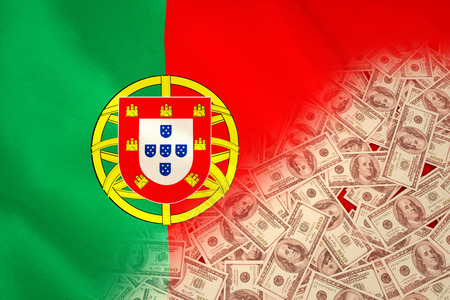 portugese: Pile of dollars against digitally generated portugese national flag