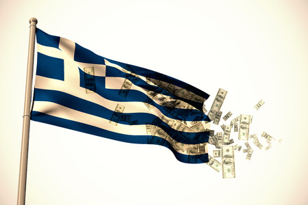 against white: Falling dollars against white background with vignette