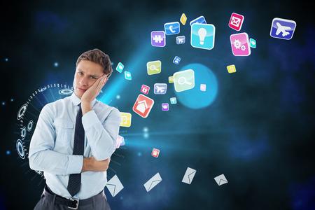 global thinking: Upset thinking businessman against global communication background Stock Photo