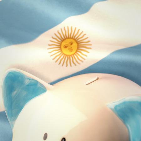 argentinian flag: Piggy bank against argentinian flag