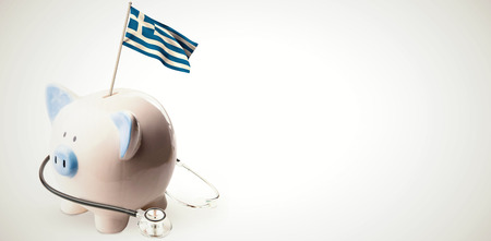 finacial: Digitally generated greek national flag against white background with vignette