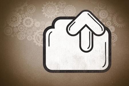 uploading: uploading file against grey Stock Photo