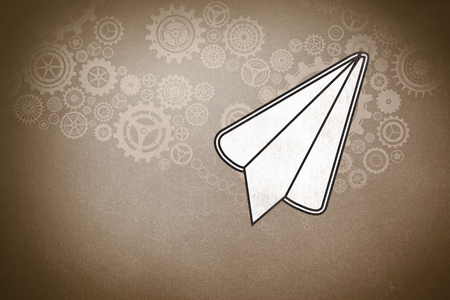 paper airplane: paper airplane against grey Stock Photo