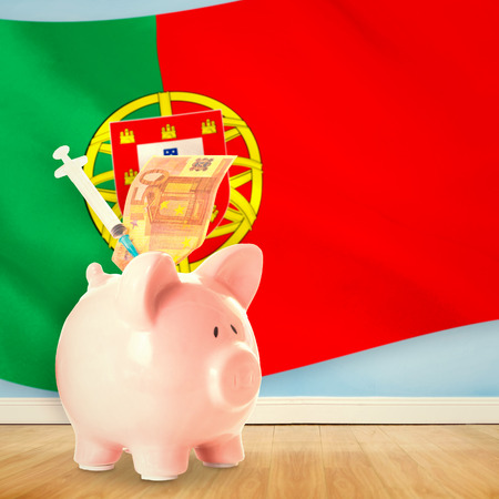 portugese: Health insurance concept against digitally generated portugese national flag