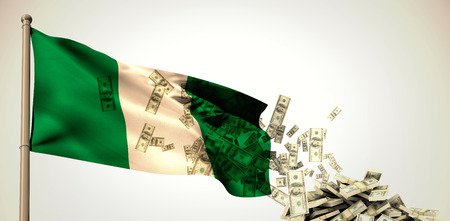 finacial: Falling dollars against white background with vignette