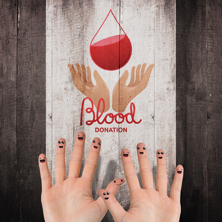 medica: Blood donation against weathered oak floor boards background Stock Photo