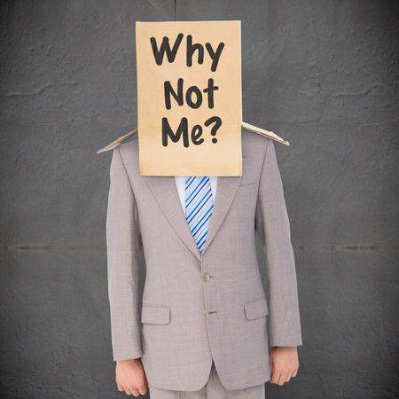anonymous: Anonymous businessman against grey concrete tile Stock Photo