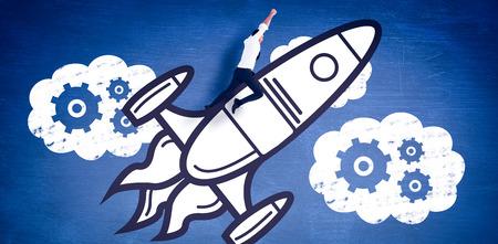euphoria: Flying businessman against blue chalkboard Stock Photo