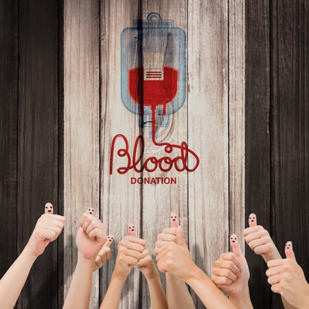 medica: Blood donation against wooden planks