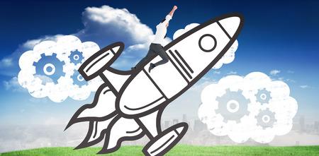 accomplishments: Flying businessman against blue sky over city