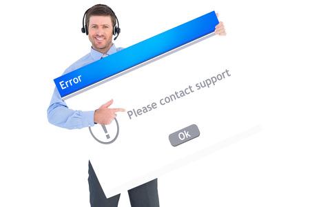 error message: Businessman showing card wearing headset against error message