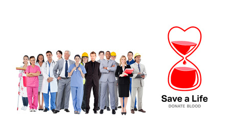 different jobs: Smiling group of people with different jobs  against blood donation Stock Photo