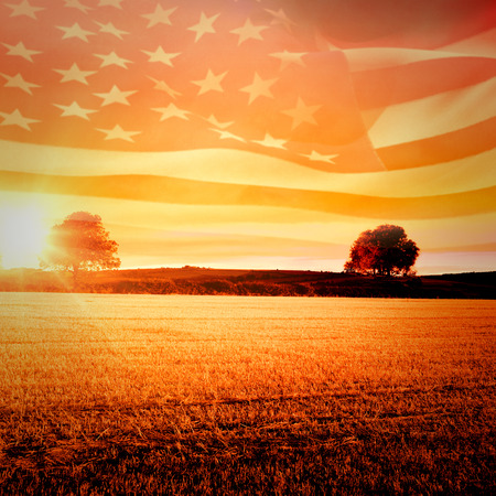 rippling: Digitally generated american flag rippling against countryside scene