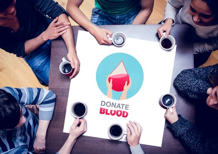 blood sample: People sitting around table drinking coffee against blood donation Stock Photo