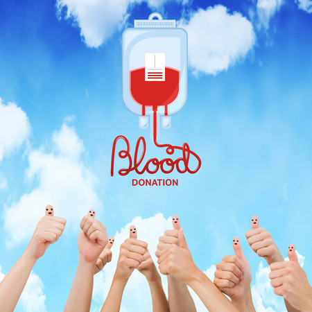medica: Blood donation against bright blue sky Stock Photo