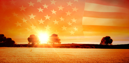 america countryside: United states of america flag against countryside scene