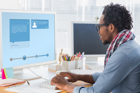 young adult men: Website interface against creative business worker on computer Stock Photo