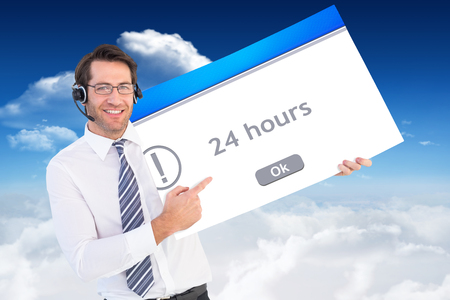 error message: Businessman with headphone showing card to camera against error message