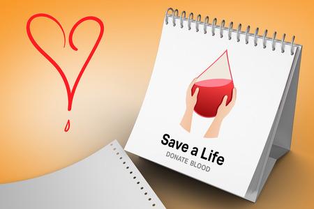 vignette: Blood donation against orange vignette