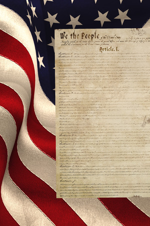 declaration: Digitally generated united states national flag against declaration of independence