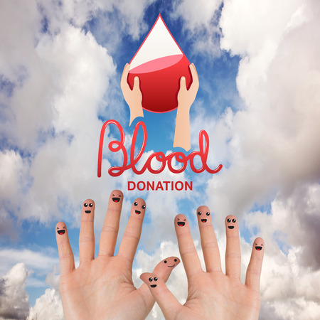 medica: Blood donation against blue sky with white clouds
