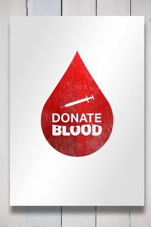white card: Donate blood against white card