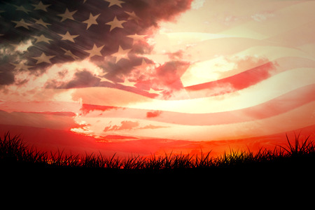 rippling: Digitally generated american flag rippling against red sky over grass Stock Photo