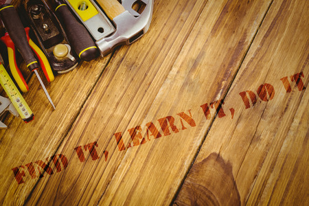 IT: The word find it, learn it, do it against desk with tools