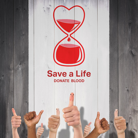 donation: Blood donation against wooden planks