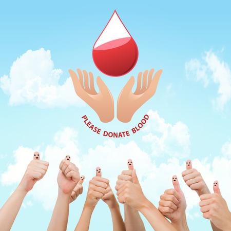 medica: Blood donation against blue sky