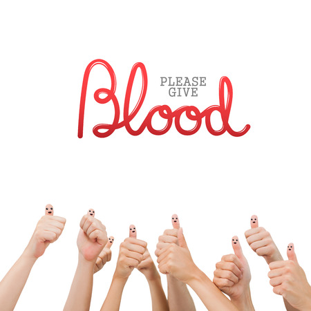 medica: Blood donation against hands showing thumbs up Stock Photo