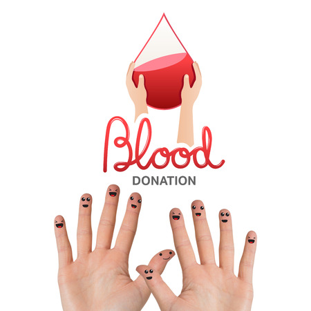 medica: Blood donation against hands waving