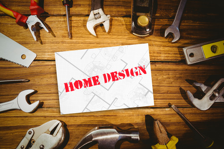 digital tablet: The word home design and digital tablet displaying blueprint against white card Stock Photo