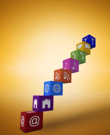 vignette: App steps against yellow vignette