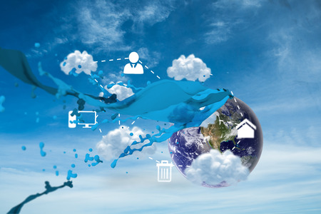 Cloud computing graphic with paint splash against blue sky