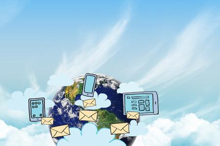 internet connection: Cloud computing doodle against blue sky