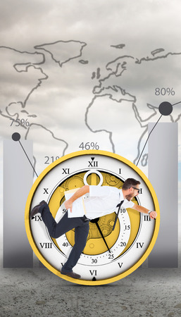 running late: Geeky young businessman running late against global statistic on sky background