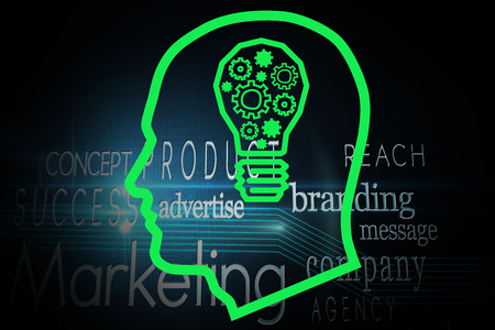 buzzwords: Light bulb in head against marketing buzzwords on black background