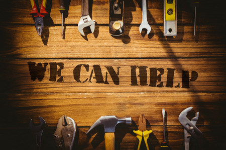can we help: The word we can help against desk with tools