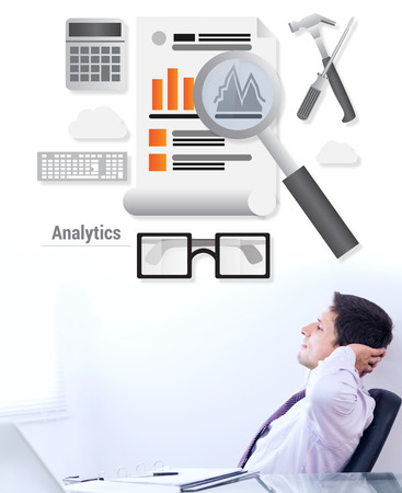 Business analytics against telaxed businessman with hands behind head in office